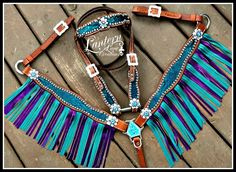 custom metallic snake print tack set, purple and turquoise fringe.