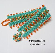 SuperDuo Beadwoven Bracelet, Beadwork Bracelet, Cuff Bracelet, Seed Bead Bracelet, Beadwoven Jewelry, Embellished Bracelet, Beading Tutorial by mybeads4you on Etsy https://www.etsy.com/listing/193050935/superduo-beadwoven-bracelet-beadwork