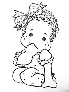 Special Moments 2013 - Little Cute Tilda Colouring Pages, Adult Coloring Pages, Coloring Books, Sue Sunbonnet, Jar Art, Spellbinders Cards, Step Cards, Baby Drawing, Album Photo
