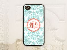 Damask phone case, iPhone 4 4S, iPhone 5 5s 5c, Samsung Galaxy S3 S4, Monogram phone cover, Watermelon, Light mint damask, Custom case P3202 by LilStinkerDesign on Etsy https://www.etsy.com/listing/186753411/damask-phone-case-iphone-4-4s-iphone-5