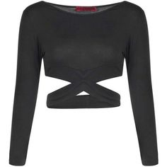 Boohoo Petite Frankie Cross Detail Long Sleeve Crop Top ($14) ❤ liked on Polyvore featuring tops, crop top, shirts, long sleeve crop top, lace bodysuit, bralette tops, long sleeve shirts and flat top - shirts, funny, for women, striped, funny, oversized shirt *ad