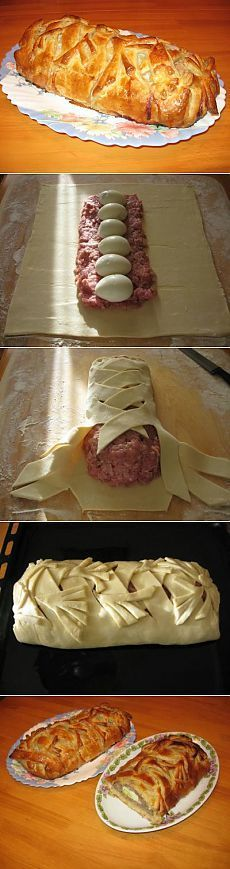 best recipes - Homemade meatloaf in dough – Simple recipes Ovkuse. Good Food, Yummy Food, Tasty, Meat Recipes, Cooking Recipes, Russian Recipes, Creative Food, Food Inspiration, Food To Make