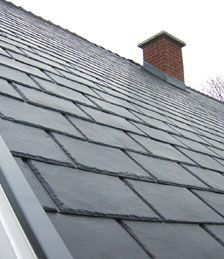 Polymer roofing shingles [ NOVIK - NOVISLATE ], made to look like slate.. but it's not!!! :) Yes and Yes!!! this is a must have !!!