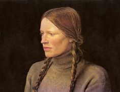 Andrew Wyeth - 'Braids'(Helga Testorf) 1979 dry-brush watercolor by Plum leaves, via Flickr
