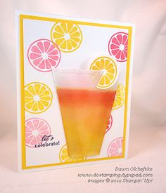 """Lemonade-Cup-Card by Dawn Olchefske. Video tutorial on her website. Vellum piece 3 1/4"""" x 3 3/4"""". Measure in 3/4"""" from each bottom corner (on a 3 3/4"""" side). Cut from mark to corresponding top corner. Then score 1/2"""" from each side edge. She used Stampin' Up Daffodil Delight & Rose Red inks for lemonade; Daffodil Delight & Regal Rose for stamped lemon slices. Summery!"""