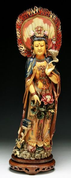 Chinese Antique Polychrome Ivory Guanyin