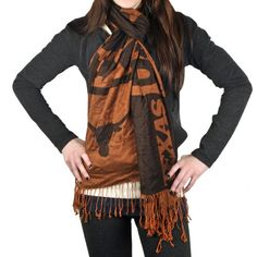 Texas Longhorns Ladies x Scarf - Burnt Orange/Black Cold Weather Fashion, Cold Weather Outfits, Texas Longhorns Football, Ut Longhorns, Thing 1, Pashmina Scarf, Scarf Styles, Womens Scarves, Sport Outfits