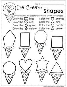 Preschool Shapes Worksheets – Ice Cream Theme - Life and hacks Preschool Learning Activities, Preschool Shapes, Preschool Lessons, Preschool Classroom, Kindergarten Worksheets, Preschool Activities, Kids Learning, Learning Shapes, Summer Preschool Themes