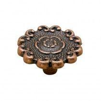 Jaladera botón Flor grande cobre antiguo Rish