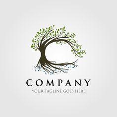 tree logo illustration design, oak logo, vintage tree, olive tree logo By linimasa Vector Logo Design, Logo Design Template, Wood Car, Roots Logo, Tree Icon, Vector Trees, Vintage Design, Logo Vintage, Tree Logos