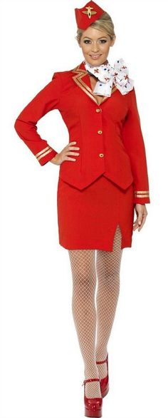 1980s Virgin Air Steward / Hostess Costume with hat and neck tie.