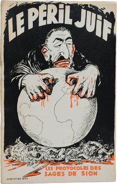 """""""Horrid Hate publication"""" The cover of a French edition of The Protocols of the Elders of Zion, circa 1940."""