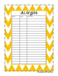 First Week of School Quick Survival Kit Chevron Pattern- transportation forms, hallway sign in attendance and lunch forms, allergy form( good for sub binder!)
