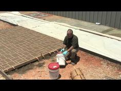 Watch video demonstrations with tips on applying concrete stencils on interior and exterior concrete. See what materials are used for each application and get tips on installing concrete stencils. Concrete Stone, Poured Concrete, Concrete Pavers, Cement, Exterior Tiles, Interior And Exterior, Stencil Concrete, Outdoor Projects, Outdoor Ideas