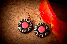 Gold and orange terracotta earrings womens/girls by Mithicotta