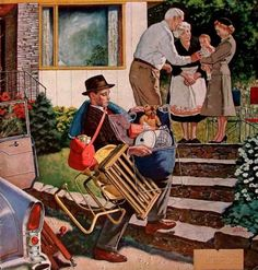 Amos Sewell (1901 – 1983  Visiting Grandparents………THIS IS JUST THE TRUEST PICTURE EVER……..YOU CAN DO IT DADDY, YOU-BETTCHA-DIAPER BAG YOU CAN…………….ccp