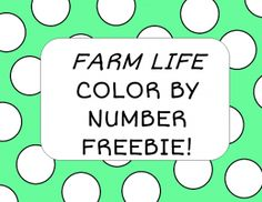Farm Life Color by Number Picture and Color Recognition Sheet FREEBIE! from Josie;s Place on TeachersNotebook.com -  (4 pages)  - Learn color words and practice number recognition!
