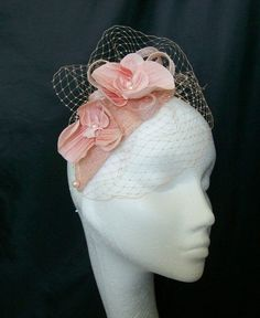 Peach Teardrop Veil & Orchid Charlotte Vintage Style Fascinator Mini Hat,  Order Now from www.indigodaisyweddings.co.uk Specialising in stunning bespoke cocktail fascinators and formal hats in a wide range of colours, perfect for Royal Ascot and The Kentucky Derby. Plus all your wedding floral accessories including shoe clips, vintage flapper bands, feather and flower fascinators, feather fans, fairy wands, wrist corsages, wedding bouquets & buttonholes. Worldwide Delivery.