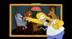 Homer freaking out over the dogs playing cards. Hysterical!