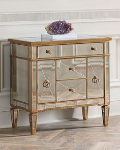 Amelie Mirrored Five-Drawer Chest Asian Hardwood Gold Trim Neiman Marcus Horchow Mirror Chest Of Drawers, Mirrored Nightstand, Mirrored Furniture, Dresser With Mirror, Cabinet Furniture, Furniture Design, Furniture Storage, Dresser Table, Clean Bedroom