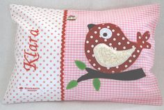 Lucky Mushroom Name Pillow / Baby Pillow Personalized with Name and Bird, Gift for Birth, Baptism, B Cuddle Pillow, Baby Pillows, Throw Pillows, Red Cushions, Pink Gingham, Pink White, Pillow Quotes, Baptism Gifts, Tela