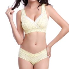 Wisstt Pregnant Women Sleep Breastfeeding Nurse Bras Underwear Maternity Underwear Bra+Panties Briefs Wire Free Nursing Bra Set