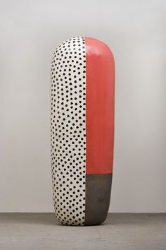 Jun Kaneko (b1942 Japan) studied painting during his high school years. He came to the United States in 1963 to continue those studies at Chouinard Institute of Art when his focus was drawn to sculptural ceramics through his introduction to Fred Marer. He studied with Peter Voulkos, Paul Soldner, and Jerry Rothman in California during the time now defined as the contemporary ceramics movement.