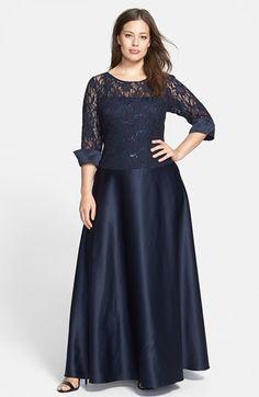 Xscape Lace Bodice Satin Gown (Plus Size) | Nordstrom