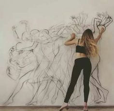 Just pretty cool lifesize portrait mural public art life in motion dance sketch illustration chalk drawing Exposition Multiple, Movement Drawing, Dance Movement, Colour Drawing, Art Of Movement, Rhythm In Art, Dance Paintings, Multiple Exposure, A Level Art