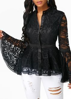 2020 New Plus Size Women Lace Long Flare Sleeve Blouse Slim Fit Hand wash Blouse Mesh Blouse Women's Tops Blusas Mujer 7946 50 Blouse Styles, Blouse Designs, Black Lace Blouse, Lace Sleeves, Lace Tops, Plus Size Women, Blouses For Women, Colorful Shirts, Ideias Fashion