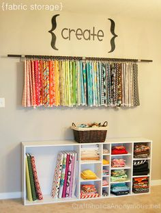 hanging fabric storage, love for a craft room! Sewing Room Organization, Craft Room Storage, Fabric Storage, Storage Ideas, Craft Rooms, Storage Solutions, Organization Ideas, Fabric Organizer, Fabric Display