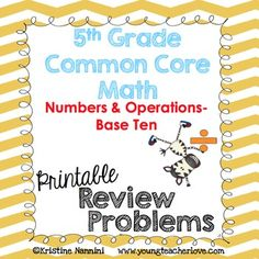 This math pack includes word problems, calculation/operation problems, and answer keys that align to the Grade Common Core Math Standards: Numbers and Operations in Base Ten. 5th Grade Classroom, Middle School Classroom, 5th Grade Math, Common Core Math Standards, Exit Slips, Review Games, Math Problems, Math Numbers, Math Concepts