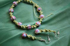 wiosenny zestaw makramowy - bigle antyalergiczne, sznurek woskowany, koraliki fimo