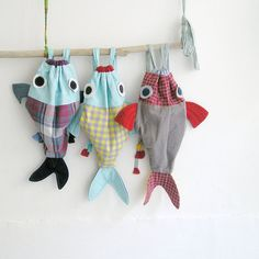 Along with my Fish friend - Drawstring backpack for children- Nursery - Made to order LaGagiandra Etsy