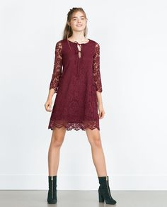 LACE DRESS (quarter sleeve wine red burgundy lace tie up 8342/254) $39.90 | Zara