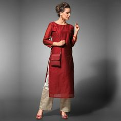 Buy Red Kurti with Cream Palazzo at Rs. Pakistani Dresses, Indian Dresses, Indian Outfits, Indian Attire, Indian Wear, Kurta Designs, Blouse Designs, India Fashion, Hijab Fashion