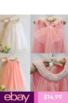 e221ff36b587 Toddler Girls Baby Flower Girl Cute Wedding First Birthday Top Pearl Dress