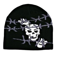 Black Tight Knit Beanie Cap With Skull Barb WireFrom #Luxury Divas List Price: $12.00Price: $7.99 Availability: Usually ships in 1-2 business daysShips From #and sold by Luxury DivasAverage customer review:   1 customer reviews