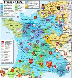 The Iberian Peninsula prior to the unification of Castile and Aragon. Coat of arms and map courtesy of wikipedia. Coat of Arms Series France Spain Italy Holy Roman Empire 2/19/12 EDIT: map base sou... French History, European History, Ancient History, France Map, Country Maps, Holy Roman Empire, Historical Maps, Genealogy Research, Old Maps