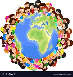 Illustration of Multicultural children cartoon on planet earth vector art, clipart and stock vectors. World Friendship Day, Kids Background, World Pictures, Ornaments Design, Children Images, Cartoon Kids, Planet Earth, Vector Art, Religion