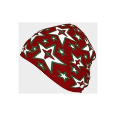 CHRISTMAS STARS Beanie Hat Adult Youth Toddler Baby Small Medium Large... (€29) ❤ liked on Polyvore featuring red top