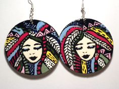 #ethno, #earrings, #painted #colorful #handmade #jewelry