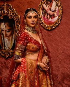 Aditi Rao Hydari Looks Ethereal As She Turns As A Perfect Muse For Designer Anju Modi To Unveil Her Wedding Collection - HungryBoo Indian Bridal Outfits, Indian Bridal Fashion, Indian Bridal Wear, Indian Designer Outfits, Bride Indian, Indian Designers, Indian Wear, Nikkah Dress, Lehnga Dress