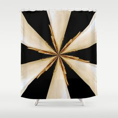 Black White And Gold Star Shower Curtain By Bella Mahri