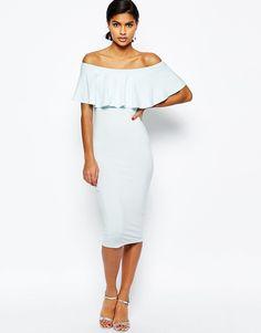 Image 1 ofASOS Ruffle Off Shoulder Bardot Pencil Midi Dress