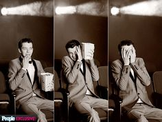 Asa Butterfield watching a scary movie,lol,