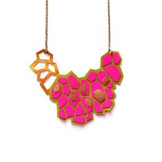 Neon Pink Leather Statement Necklace, Metallic Gold Hexagon Bib Necklace, Pattern Geometric Jewelry
