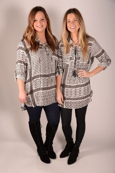 Just My Style Black/White Crisscross Tie Front Tunic - C115BW