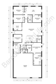 Metal Homes Floor Plans, Metal House Plans, Pole Barn House Plans, Pole Barn Homes, New House Plans, Dream House Plans, House Floor Plans, 40x60 House Plans, Dream Houses