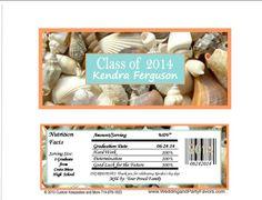 Graduation Candy Bar Wrappers Sea Shells Coral Gra-1186-WP